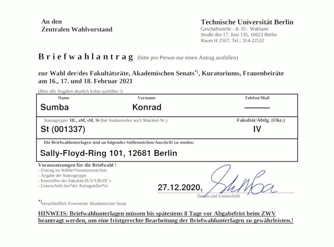 Tu Berlin Antrag Auf Immatrikulation