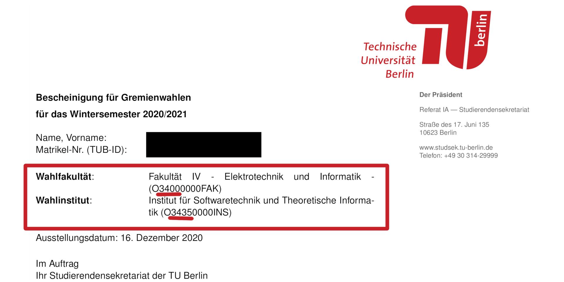 Tu Berlin Studienbescheinigung
